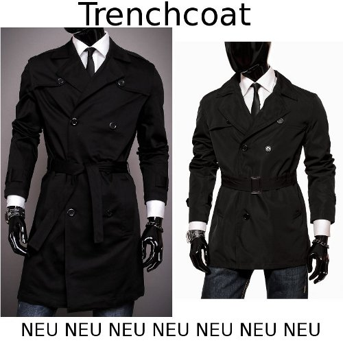 herren trenchcoat business mantel lang oder kurz schwarz s. Black Bedroom Furniture Sets. Home Design Ideas