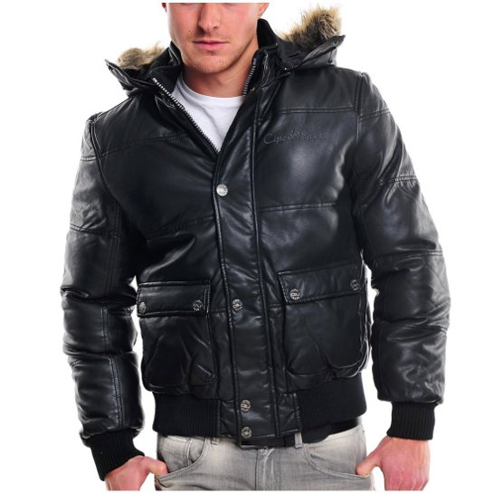 cipo baxx herren winter leder jacke parka schwarz m xxl. Black Bedroom Furniture Sets. Home Design Ideas